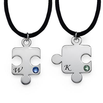Puslebrik-halskæde for Par med Månedsten - 2