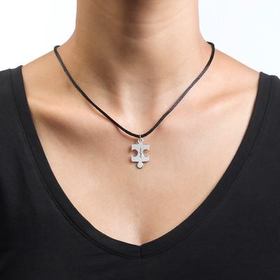 Puslebrik-halskæde for Par med Månedsten - 4