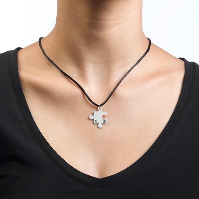 Puslebrik-halskæde for Par med Månedsten - 5