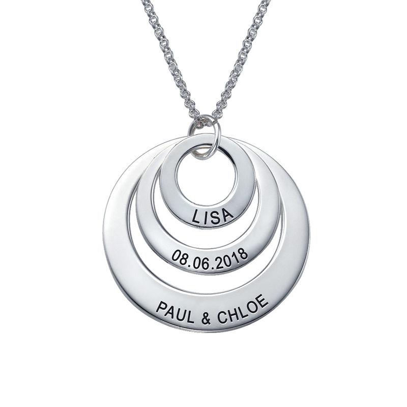 Morsmykke med tre cirkler og indgravering i sølv - 2