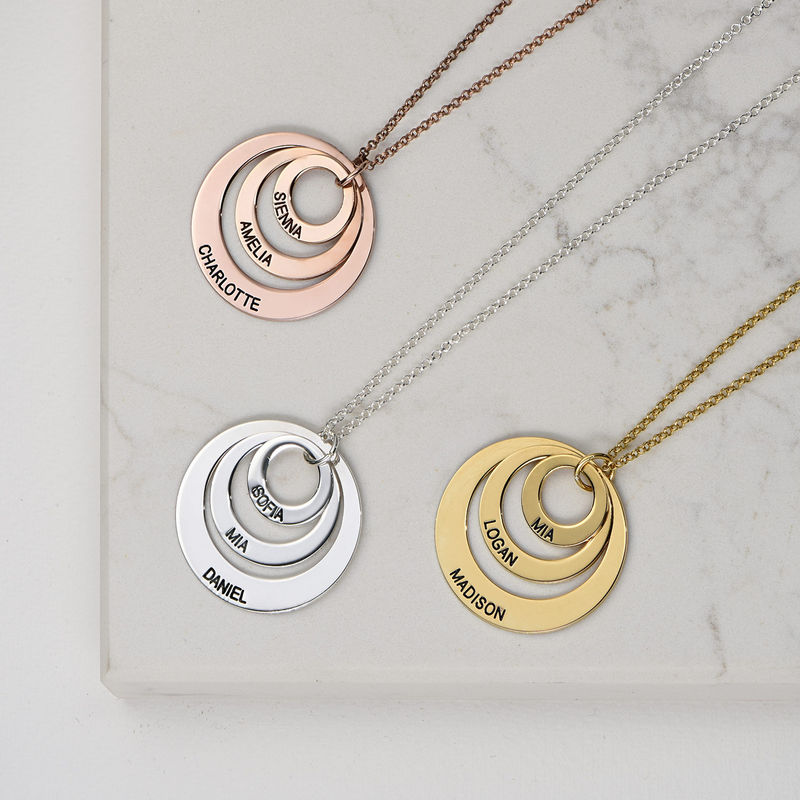 Morsmykke med tre cirkler og indgravering i sølv - 3