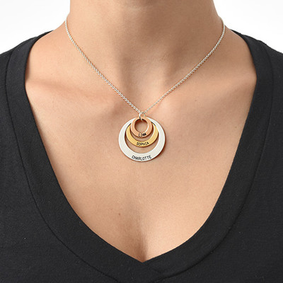 Flertone-Halskæde med Triple-Cirkelvedhæng - 2