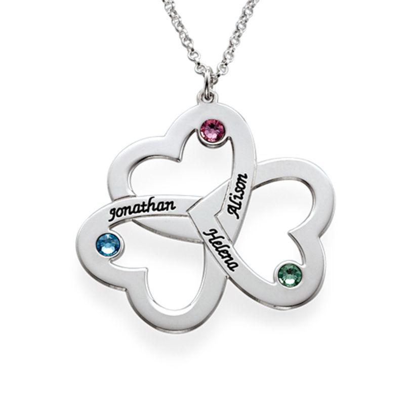 Triple-hjertesmykke til mor med fødselssten i sølv