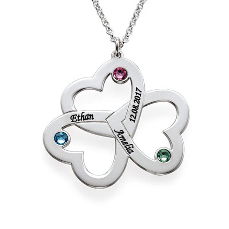 Triple-hjertesmykke til mor med fødselssten i sølv - 1