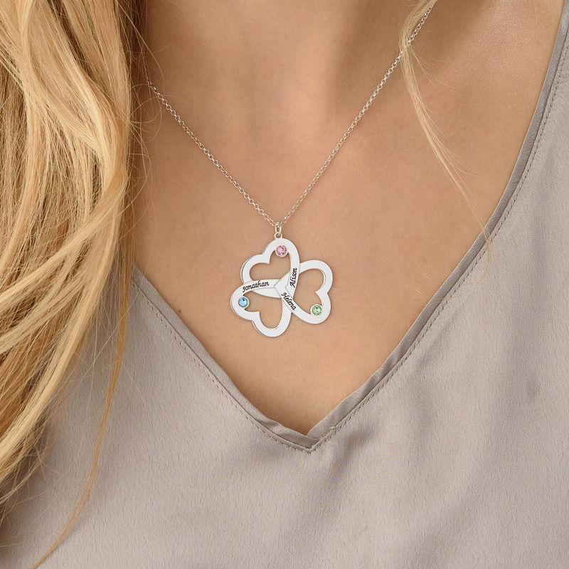 Triple-hjertesmykke til mor med fødselssten i sølv - 3