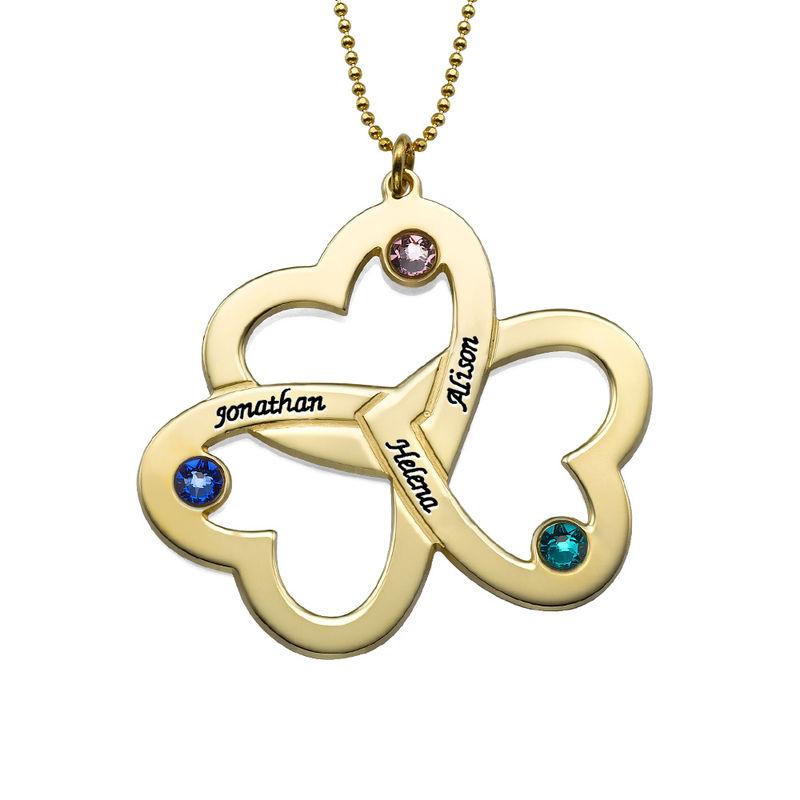 Triple-hjertesmykke til mor med fødselssten i 10 karat guld
