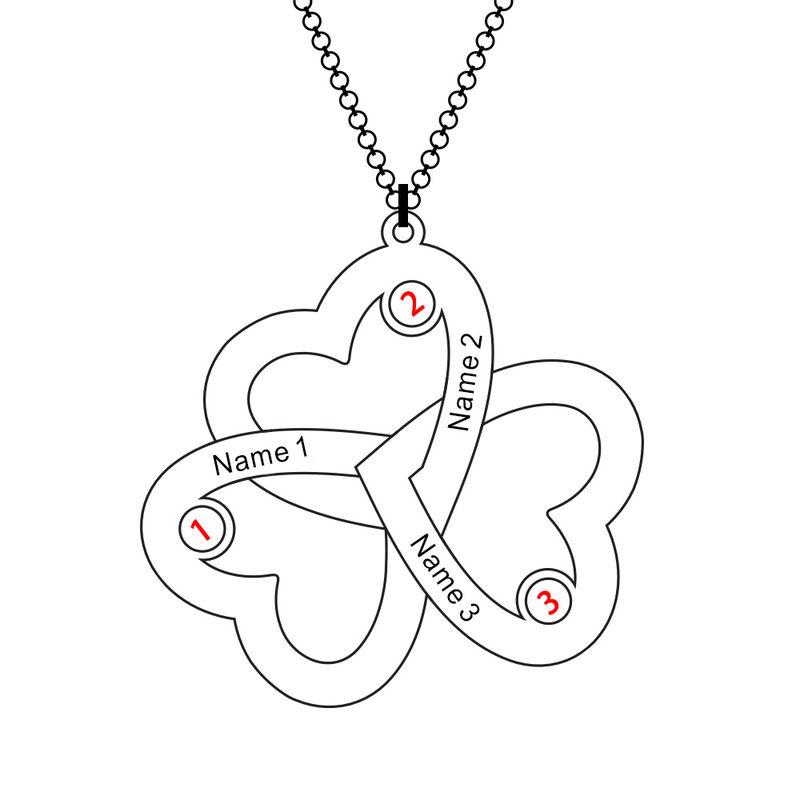 Triple-hjertesmykke til mor med fødselssten i 10 karat guld - 4