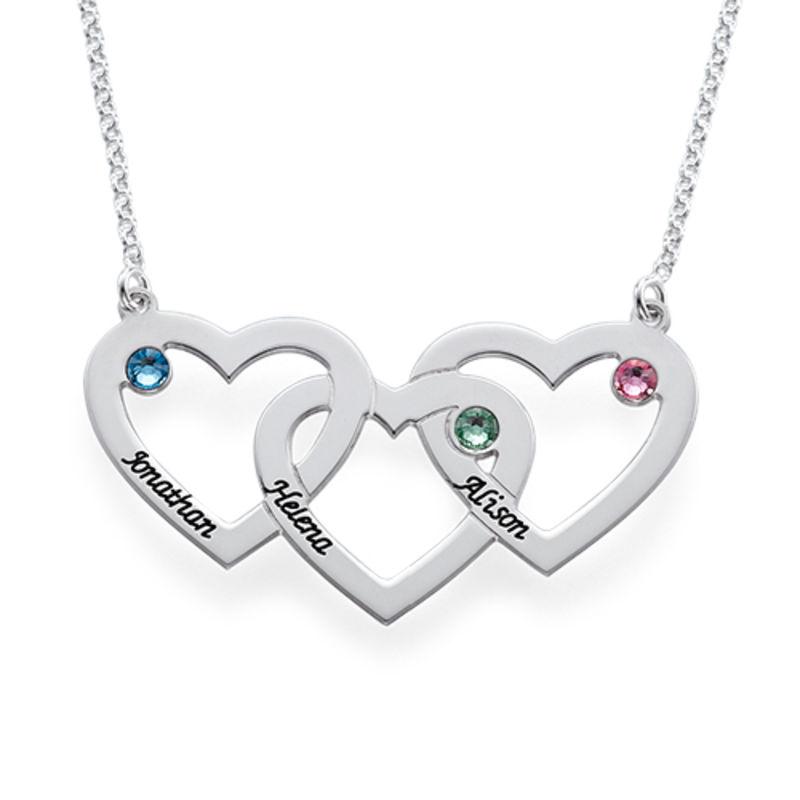Hjerte i hjerte halskæde med fødselssten i sølv