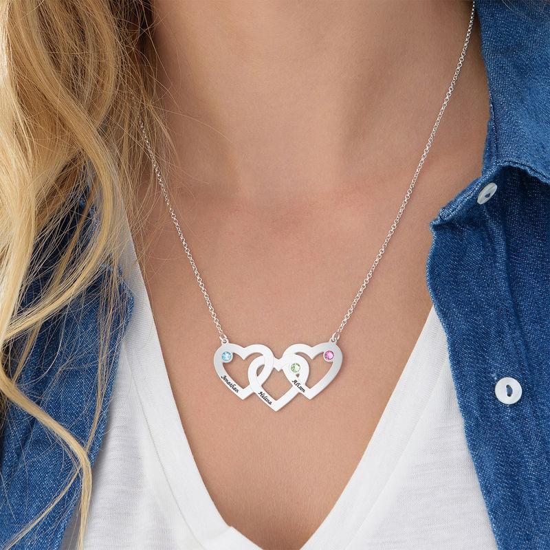 Hjerte i hjerte halskæde med fødselssten i sølv - 2