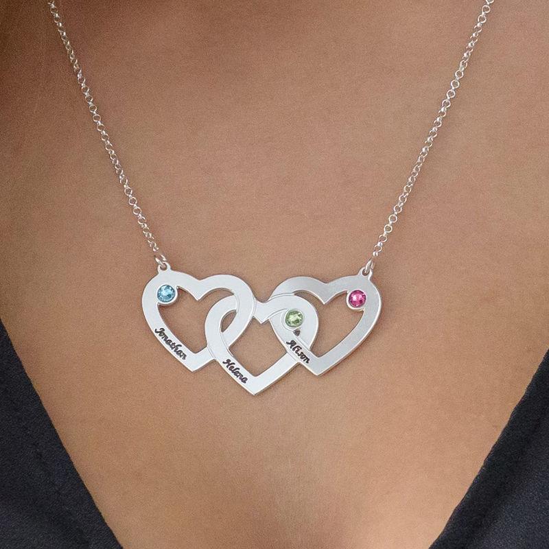 Hjerte i hjerte halskæde med fødselssten i sølv - 3