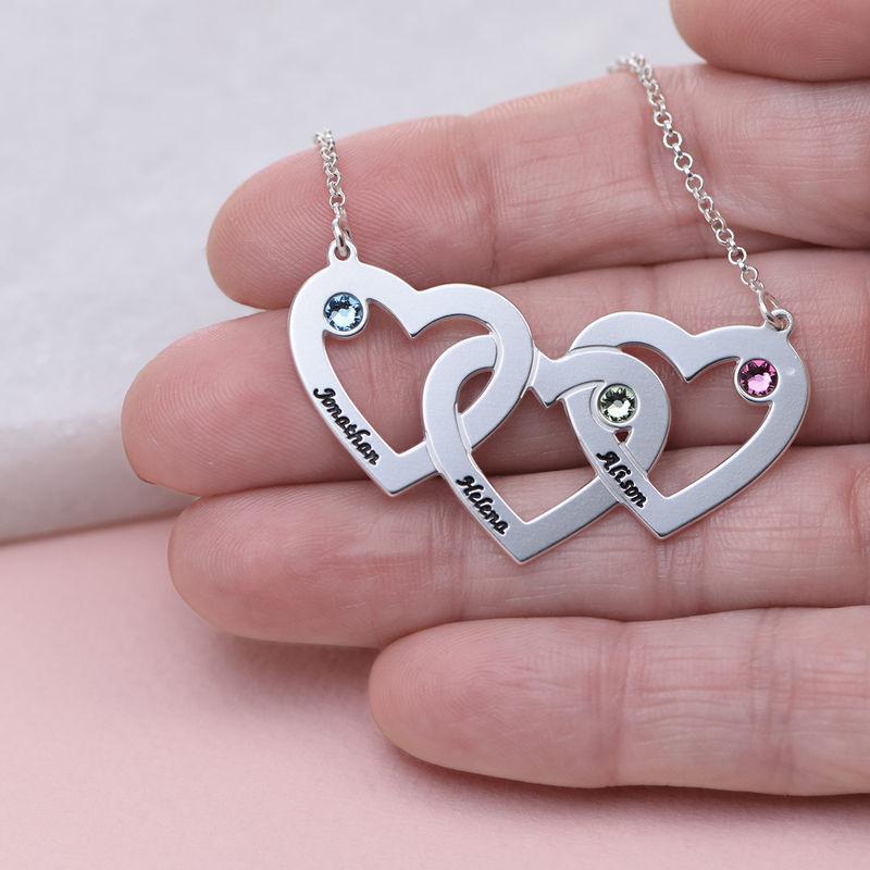 Hjerte i hjerte halskæde med fødselssten i sølv - 4