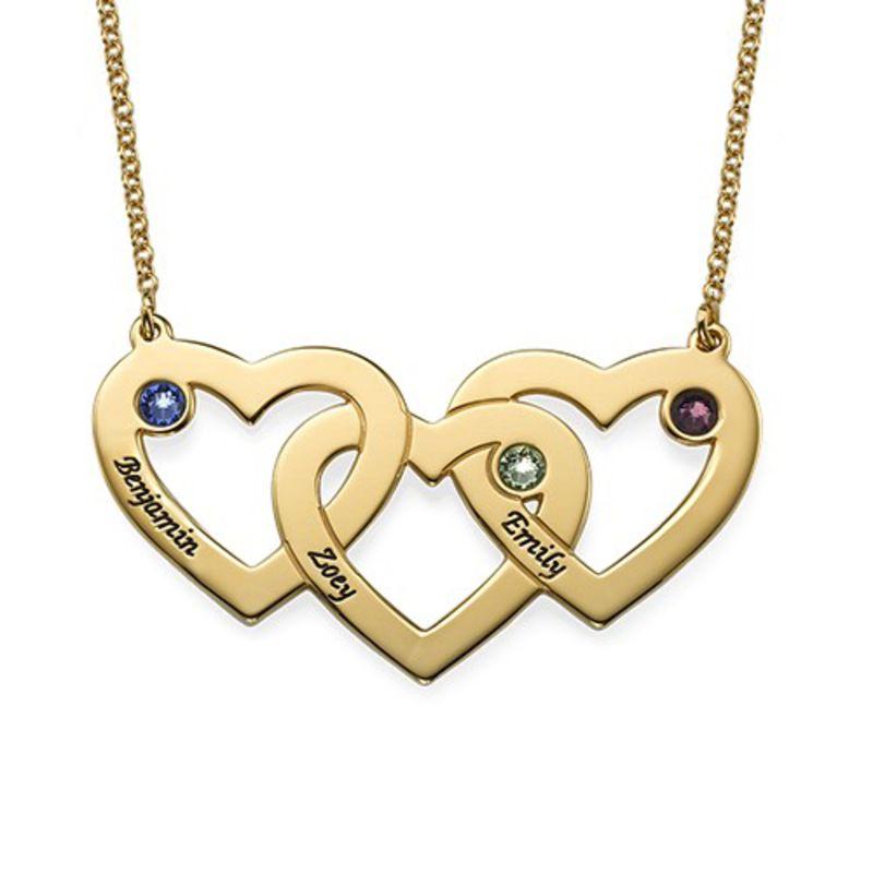 Hjerte i hjerte halskæde med fødselssten i forgyldt sølv