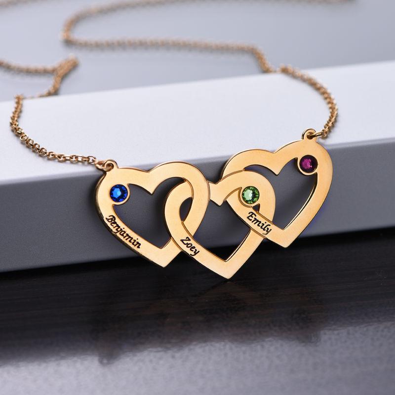 Hjerte i hjerte halskæde med fødselssten i forgyldt sølv - 1