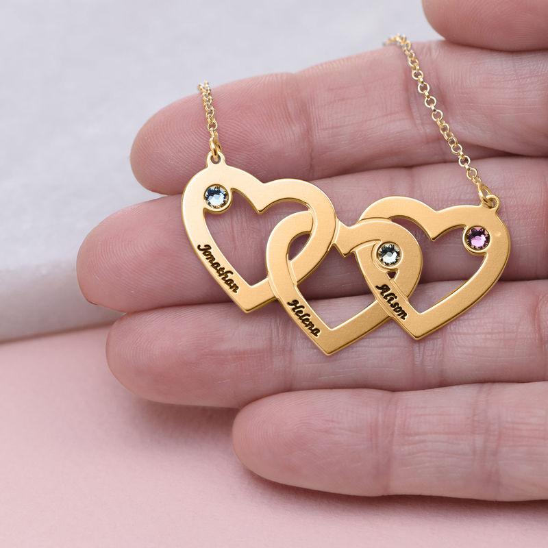 Hjerte i hjerte halskæde med fødselssten i forgyldt sølv - 4
