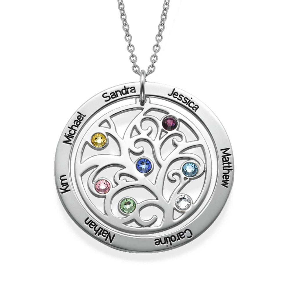 Livets træ halskæde med månedssten i sølv