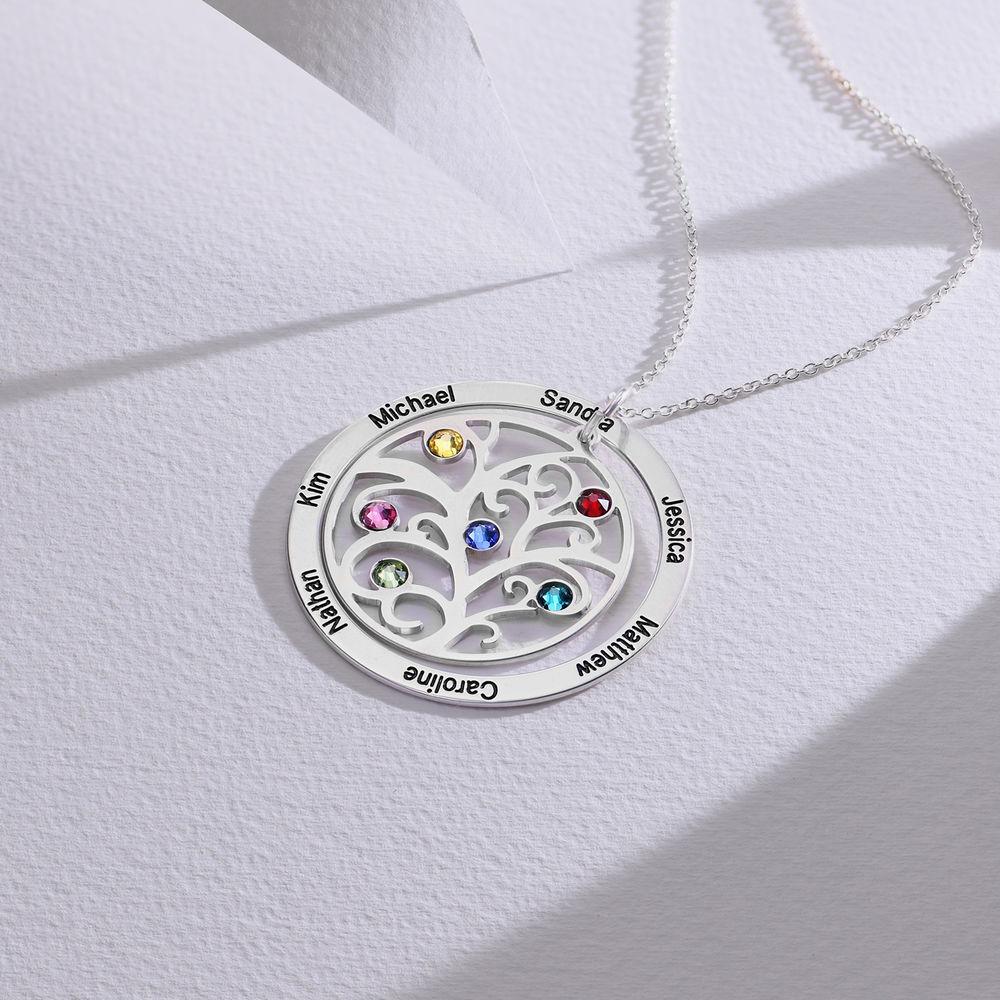 Livets træ halskæde med månedssten i sølv - 1