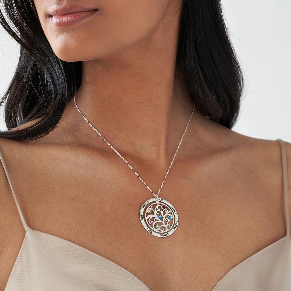 Livets træ halskæde med månedssten i sølv - 2