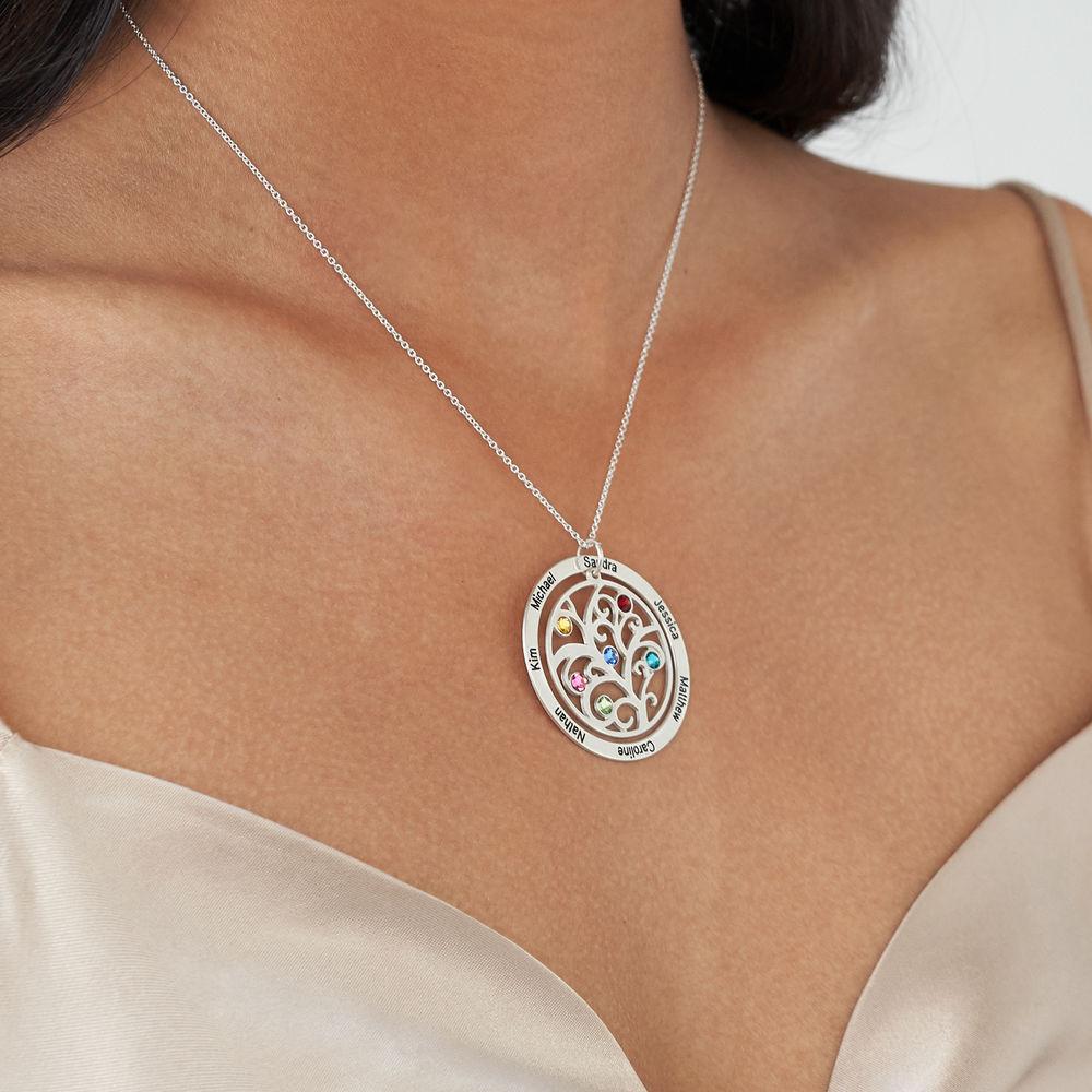 Livets træ halskæde med månedssten i sølv - 3
