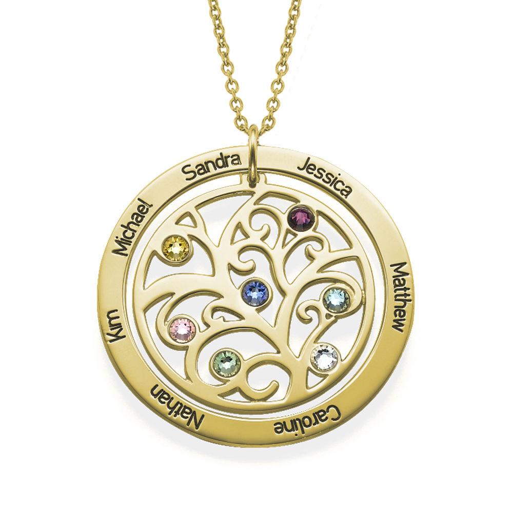 Livets træ halskæde med månedssten i forgyldt sølv