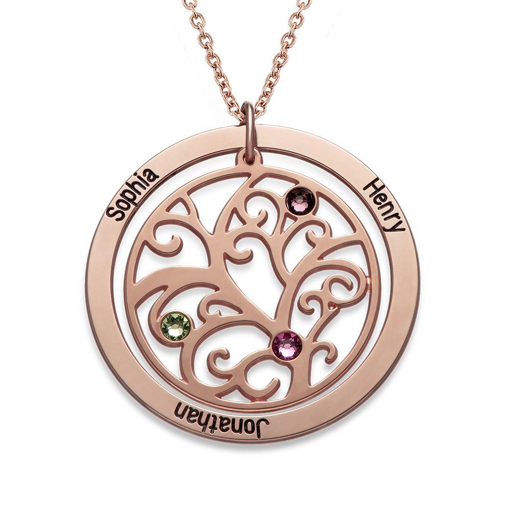 Livets træ halskæde med månedssten i rosaforgyldt sølv
