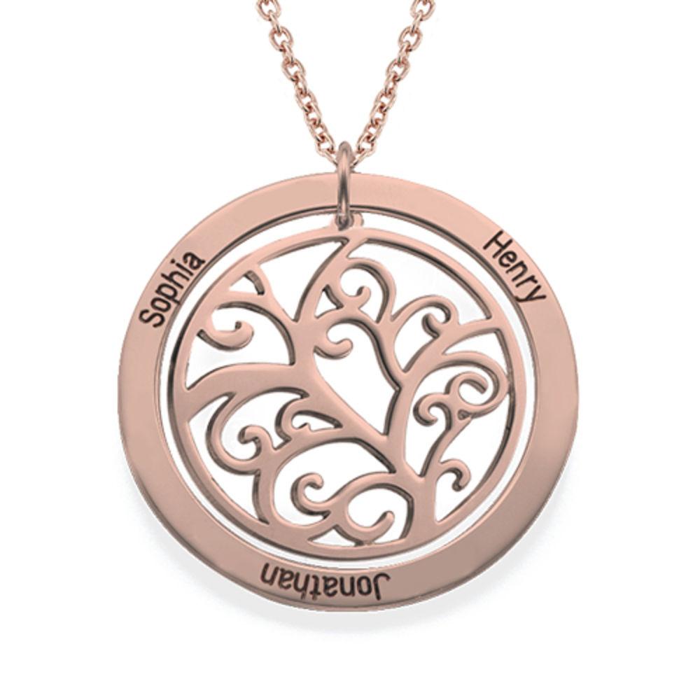 Livets træ halskæde med månedssten i rosaforgyldt sølv - 2