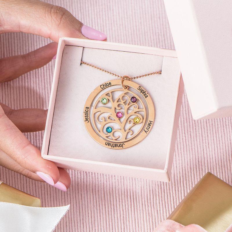 Livets træ halskæde med månedssten i rosaforgyldt sølv - 6