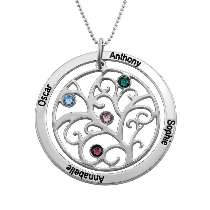 Livets træ halskæde med månedssten i 10 karat hvidguld