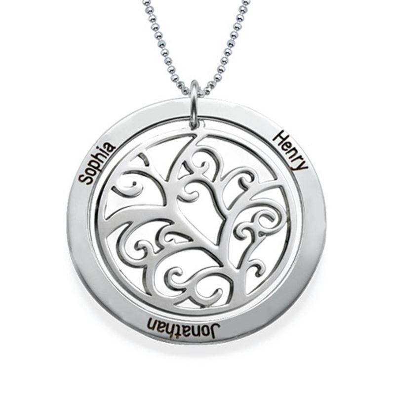 Livets træ halskæde med månedssten i 10 karat hvidguld - 1