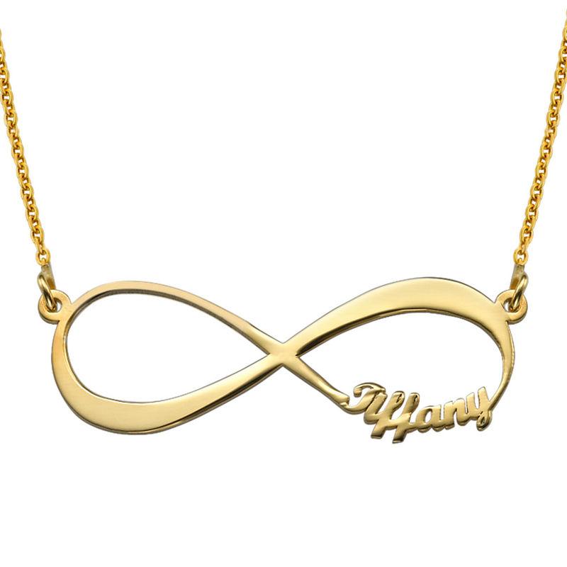 Infinity halskæde med navn i guld vermeil - 1