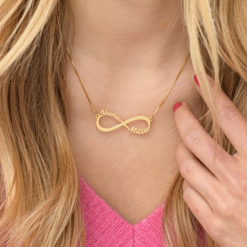 Infinity halskæde med navn i guld vermeil - 4