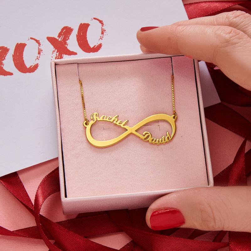Infinity halskæde med navn i guld vermeil - 5