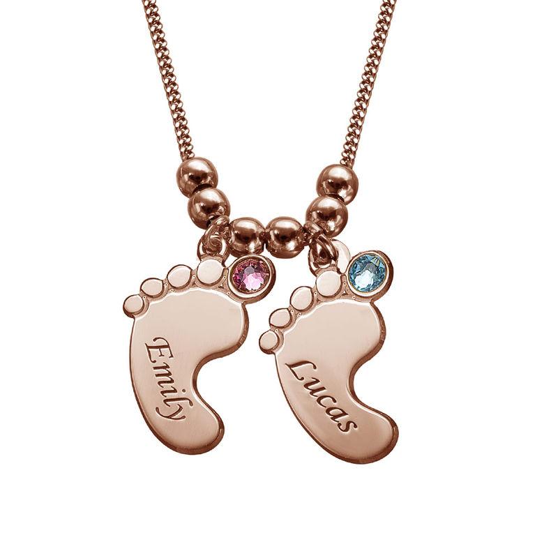 Mor halskæde med babyfødder og fødselssten i rosaforgyldt sølv - 2