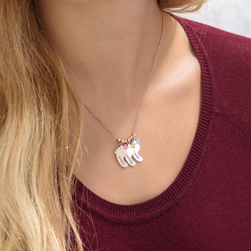 Mor halskæde med babyfødder og fødselssten i rosaforgyldt sølv - 5