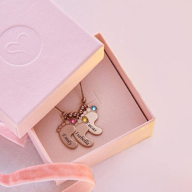 Mor halskæde med babyfødder og fødselssten i rosaforgyldt sølv - 6