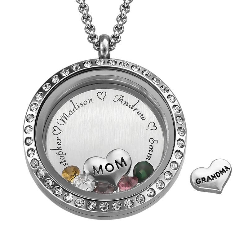 Medaljon halskæde til mor med charms