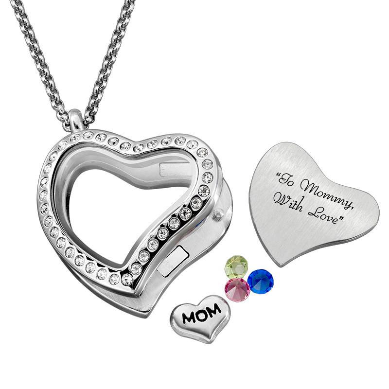 Medaljon halskæde til mor med charms - 3