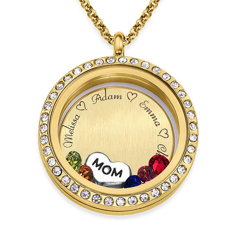 Medaljon halskæde til mor med charms med guldbelægning