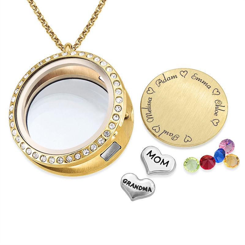 Medaljon halskæde til mor med charms med guldbelægning - 1