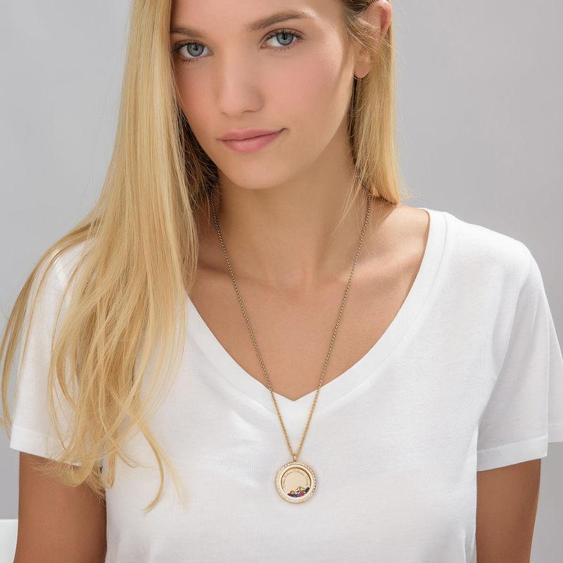 Medaljon halskæde til mor med charms med guldbelægning - 3