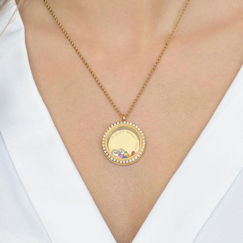 Medaljon halskæde til mor med charms med guldbelægning - 4