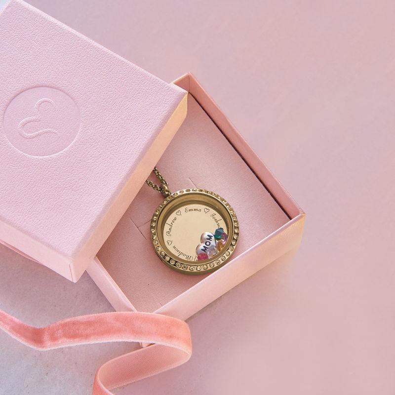 Medaljon halskæde til mor med charms med guldbelægning - 5