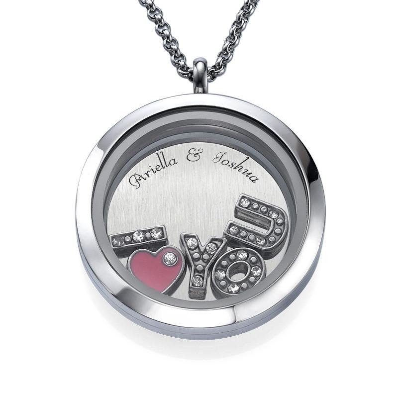 I LOVE YOU-Medaljon med Løse Lykkecharms