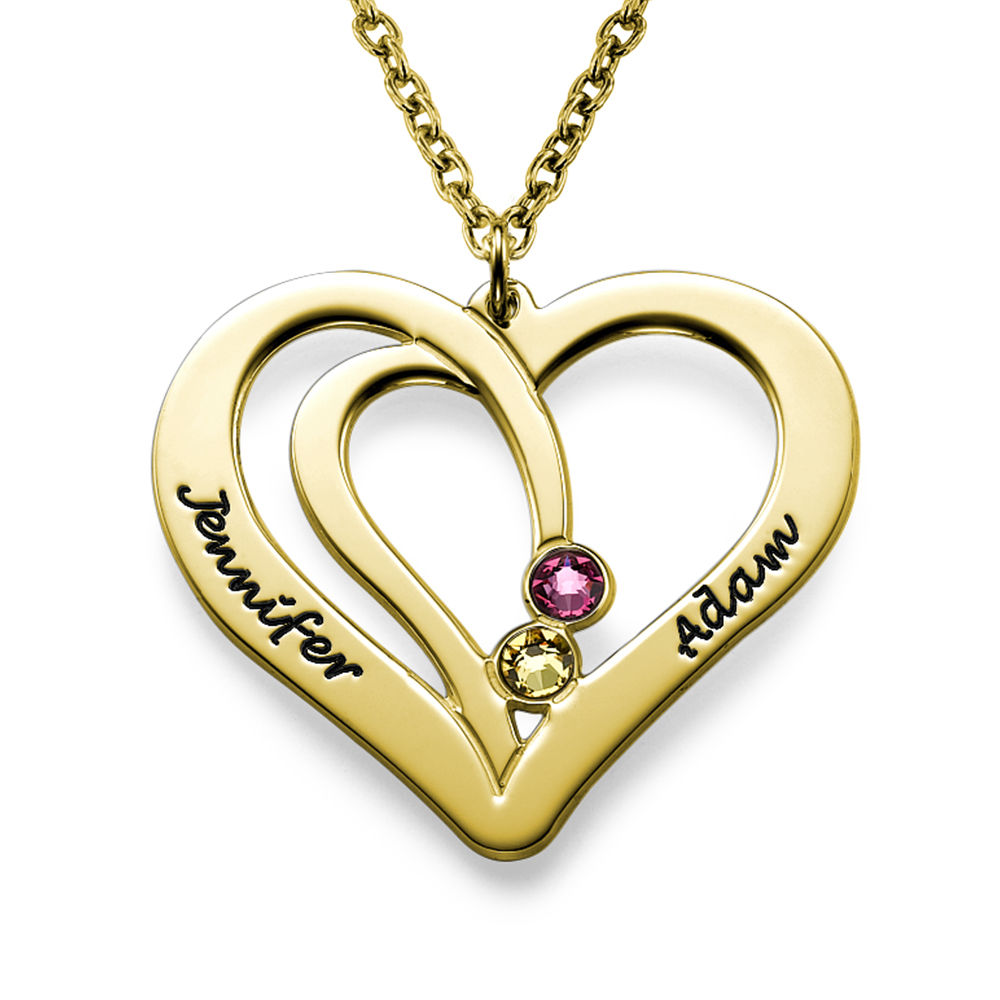 Hjerte halskæde med gravering og fødselssten i forgyldt sølv