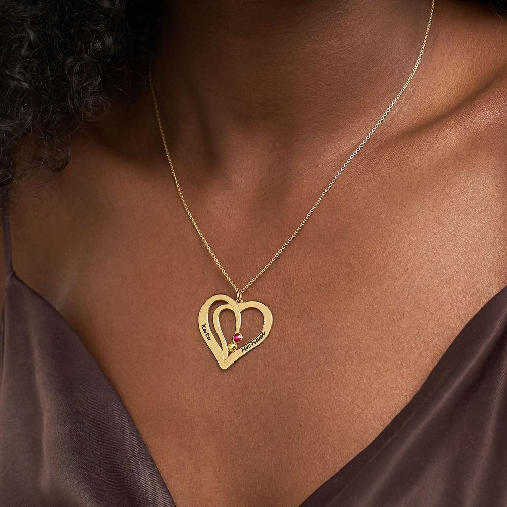 Hjerte halskæde med gravering og fødselssten i forgyldt sølv - 3