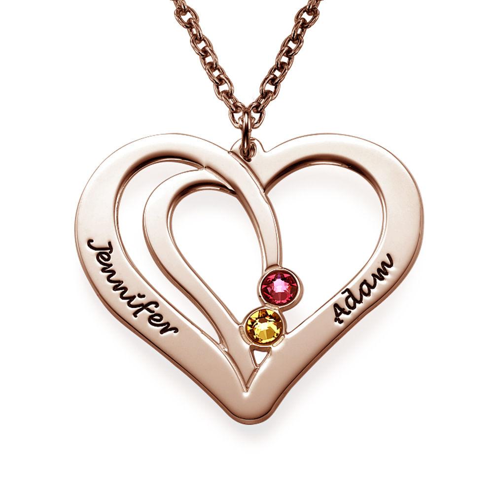 Hjerte halskæde med gravering og fødselssten i rosaforgyldt sølv