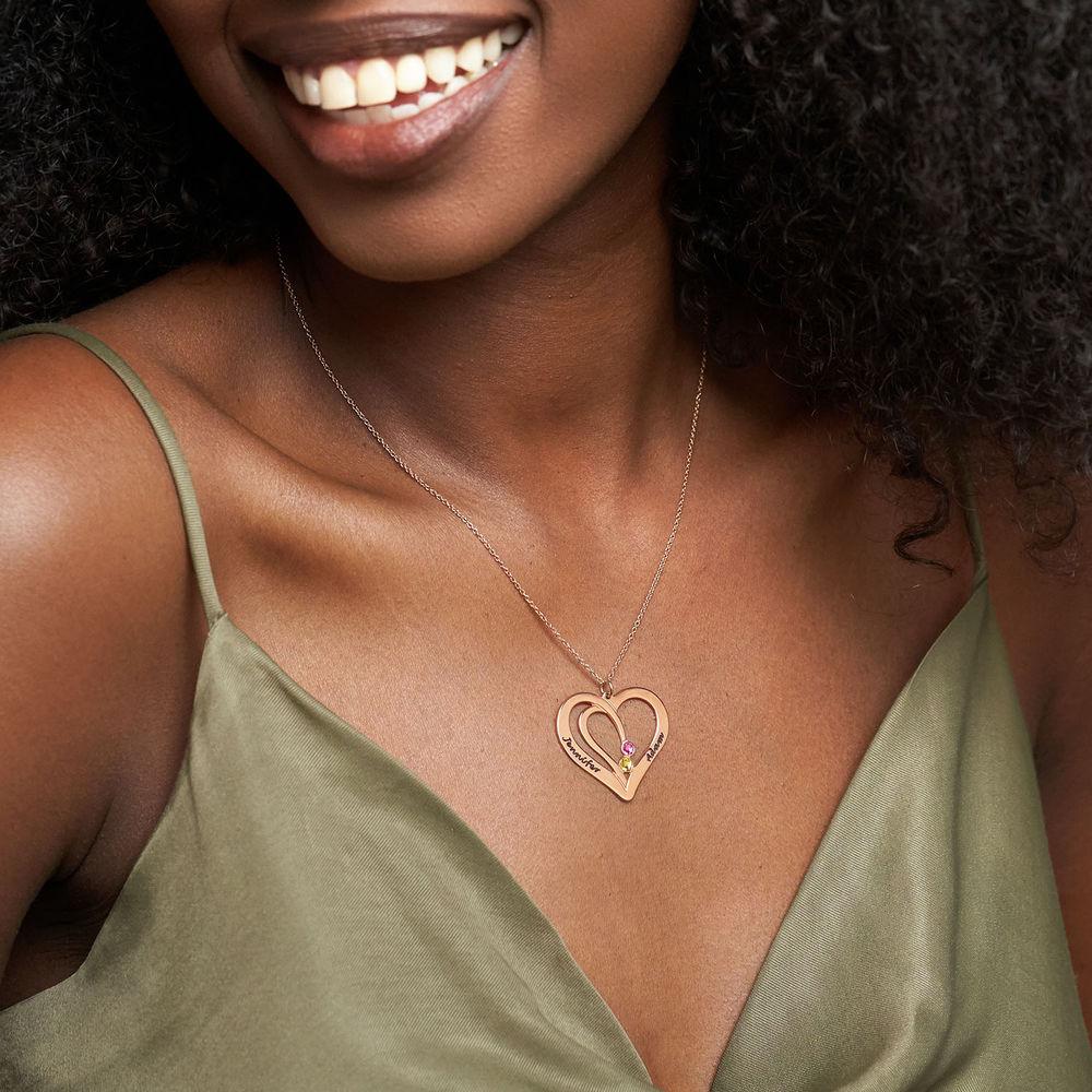 Hjerte halskæde med gravering og fødselssten i rosaforgyldt sølv - 2