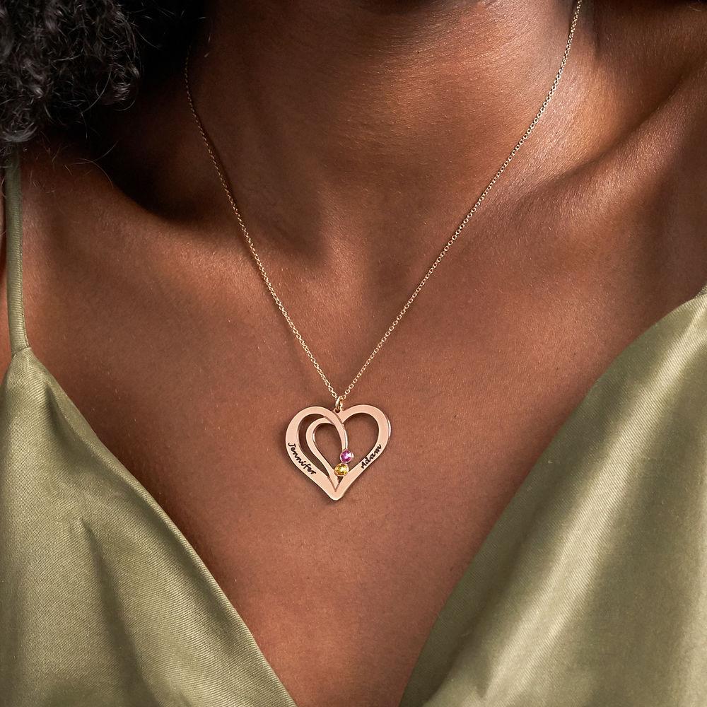 Hjerte halskæde med gravering og fødselssten i rosaforgyldt sølv - 3