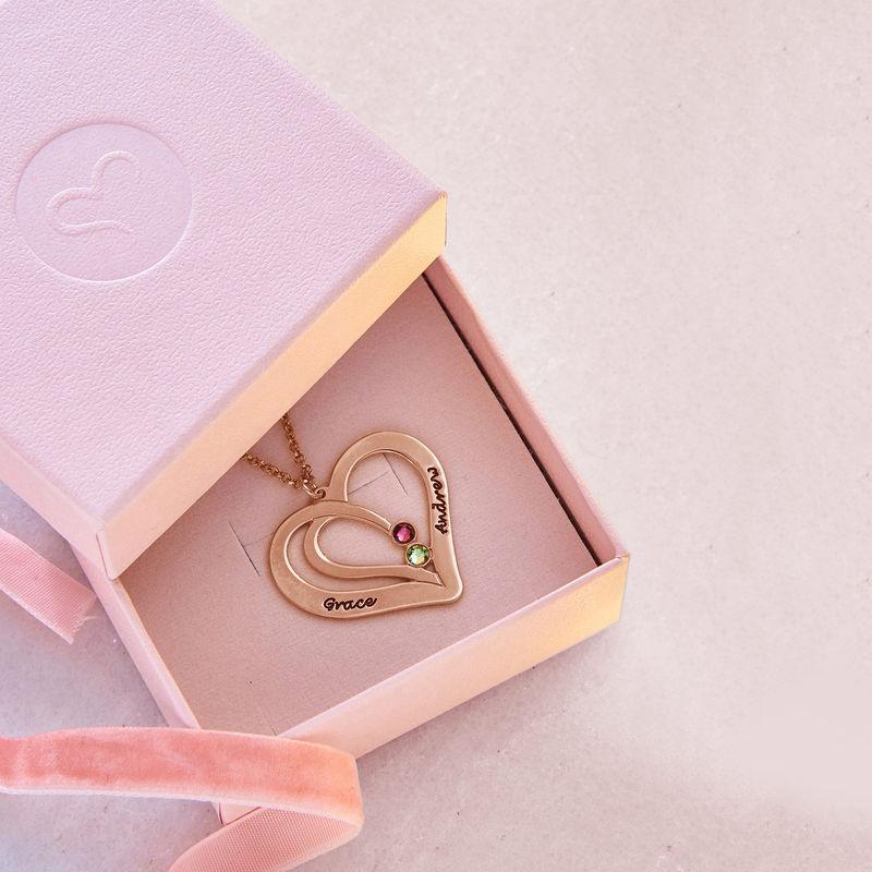 Hjerte halskæde med gravering og fødselssten i rosaforgyldt sølv - 5