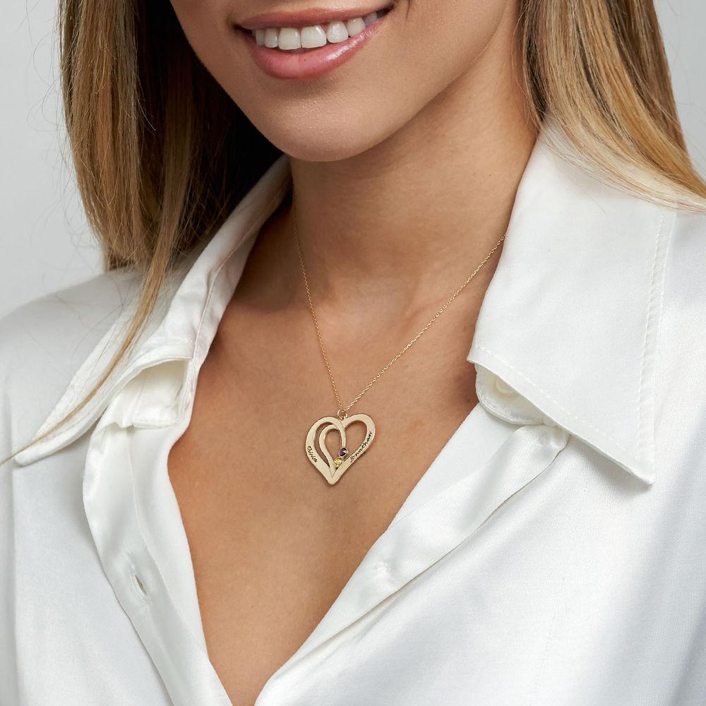 Hjerte halskæde med gravering og fødselssten i 10 karat guld - 2