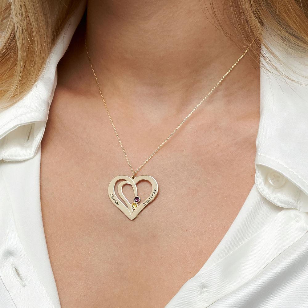 Hjerte halskæde med gravering og fødselssten i 10 karat guld - 3